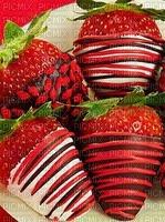fraises enrobées de chocolat avec des vermicelles de bonbons la Saint-Valentin