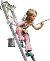Kaz_Creations Baby Enfant Child Girl Painting Birds Cat Kitten Ladder