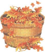 BASKET WITH LEAVES AUTUMN  PANIER FEUILLES AUTOMNE