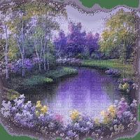 purple landscape pond flowers violet lac fleur paysage