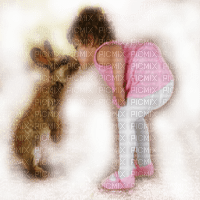 child spring kiss bunny enfant lapin