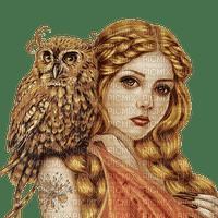 autumn woman fantasy owl bird kikkapink