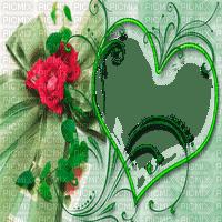 green heart frame deco vert coeur cadre