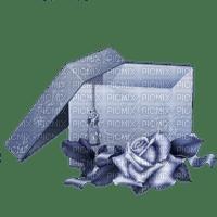 tube boite cadeau avec rose bleu