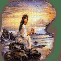 woman sunset ocean femme coucher de soleil