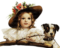 vintage enfant chien  child girl  dog 👧🐶