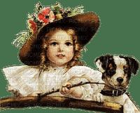 vintage enfant chien  child girl  dog 👧🐶