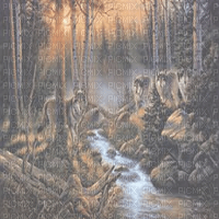 wolf forest painting bg transparent loup foret fond