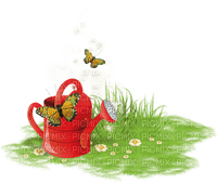 spring watering can butterflies