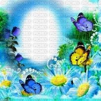 Fond bleu debutante nature primtemps papillon marguerite fleurs perles blue bg flower bg butterfly pearl spring