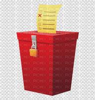 Plain Red Ballot box with lock and ballot