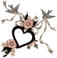 Kaz_Creations Deco Flowers Birds Frame Love Heart