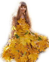 woman leaves dress femme feuilles robe