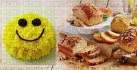bon anniversaire la pâtisserie visage souriant jaune