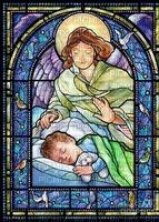 Stained Glass Guardian Angel boy Joyful226