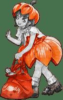 soave anime girl halloween black white orange