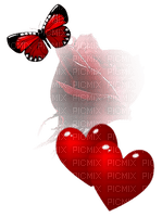 red butterfly rose hearts