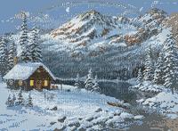 paysage d'hiver chalet et lac