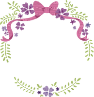 Cadre fleurs nature vert nœud rose Debutante