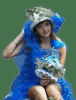 woman blue femme bleu