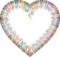 colorful frame heart coeur