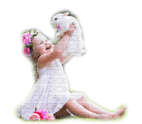 enfant fillette lapin   child girl bunny
