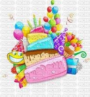 multicolore image encre gâteau pâtisserie bon anniversaire ballons bleu vert rose jaune  edited by me