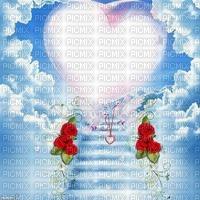 Fond ciel coeur ciel bleu nuage rose rouge Debutante oiseau