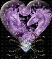 PURPLE UNICORNS INSIDE GLASS HEART