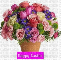 happy easter flowers planter