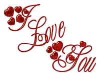 Kaz_Creations Red  Love Hearts Text I Love You