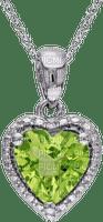 Peridot Green and Silver Heart