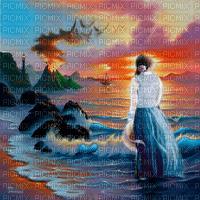 woman sunset ocean femme ocean coucher de soleil