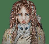 woman fantasy owl bird kikkapink