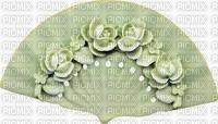 Eventail vert motifs fleurs