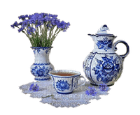 blue porcelain tea set with vase