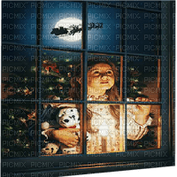 child window santa enfant fenetre