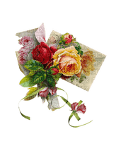 Roses et lettre - vintage