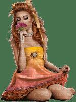 Femme qui respire le parfum d'une rose (stamp clem27)