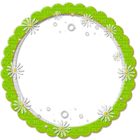 green circle frame daisy --cadre  cercle vert marguerite