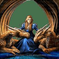 fantasy woman and dragons