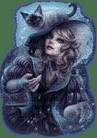 woman blue cat femme bleu chat