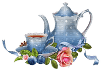 tea tee cup can deco tube flower fruits blue vintage thé pot fleur