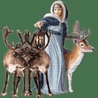femme  hiver woman winter reindeer