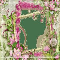 cadre pink vert fleur frame pink green flowers