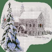 mill winter pine tree