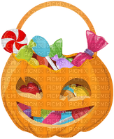 halloween basket with candy