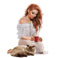 Woman with her cat. Coffee. Leila