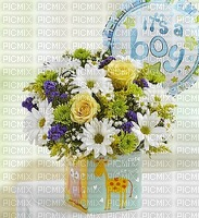 image encre fleurs bouquet it's a boy edited by me