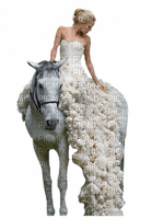 woman white horse  femme blanc cheval